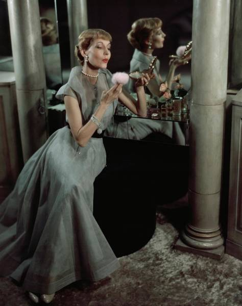 Apply Photograph - Jo Copeland In A Gray Dress by Horst P. Horst