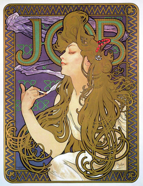 Wall Art - Painting - Job 1896 - Digital Remastered Edition by Alfons Maria Mucha
