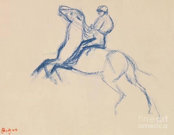 Impressionist Drawing - Jockey On Horseback by Edgar Degas