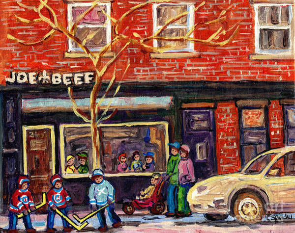 Painting - Joe Beef Resto St Henri Winter Street Scene Painting For Sale C Spandau Hockey Artist Rue Notre Dame by Carole Spandau