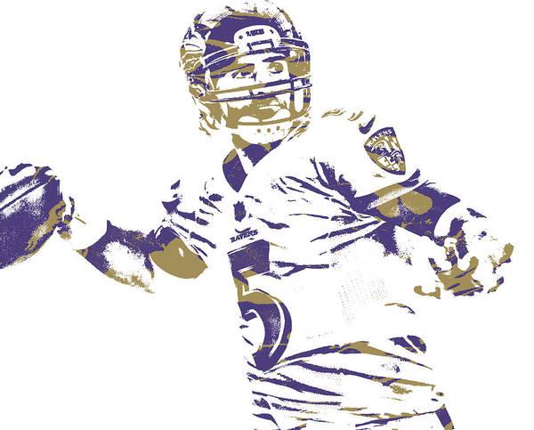 Wall Art - Mixed Media - Joe Flacco Baltimore Ravens Pixel Art 26 by Joe Hamilton