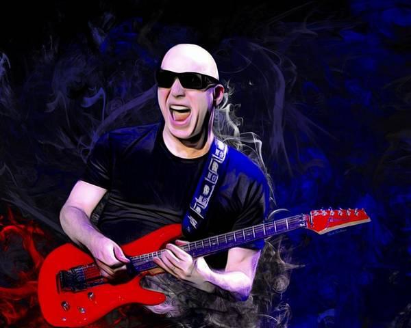 Digital Art - Joe Satriani Action Portrait  by Scott Wallace Digital Designs