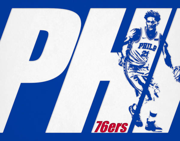 Wall Art - Mixed Media - Joel Embiid Philadelphia 76ers City Art by Joe Hamilton