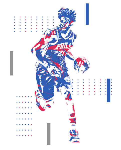 Wall Art - Mixed Media - Joel Embiid Philadelphia 76ers Pixel Art 100 by Joe Hamilton