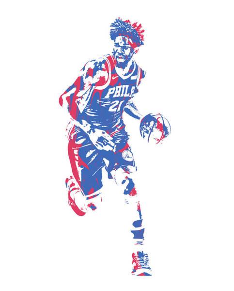 Wall Art - Mixed Media - Joel Embiid Philadelphia 76ers Pixel Art 150 by Joe Hamilton
