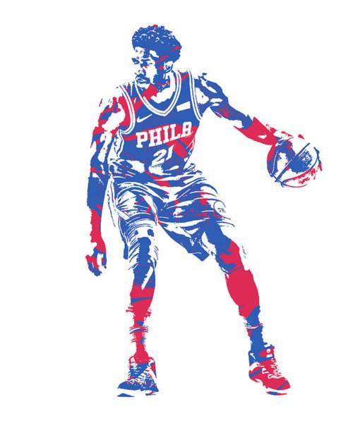 Wall Art - Mixed Media - Joel Embiid Philadelphia 76ers Pixel Art 50 by Joe Hamilton