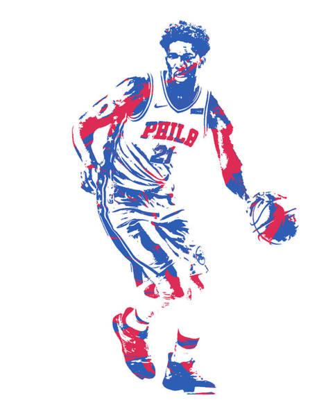 Wall Art - Mixed Media - Joel Embiid Philadelphia 76ers Pixel Art 52 by Joe Hamilton