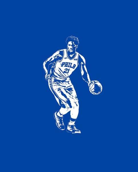 Wall Art - Mixed Media - Joel Embiid Philadelphia 76ers T Shirt Apparel Pixel Art 1 by Joe Hamilton