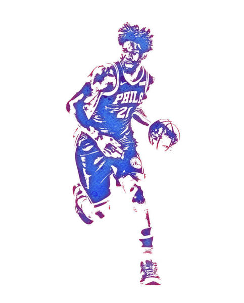 Wall Art - Mixed Media - Joel Embiid Philadelphia 76ers Water Color Pixel Art 1 by Joe Hamilton