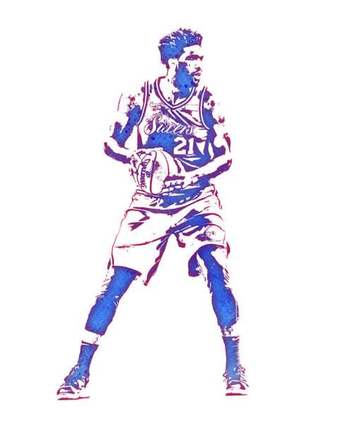 Wall Art - Mixed Media - Joel Embiid Philadelphia 76ers Water Color Pixel Art 2 by Joe Hamilton