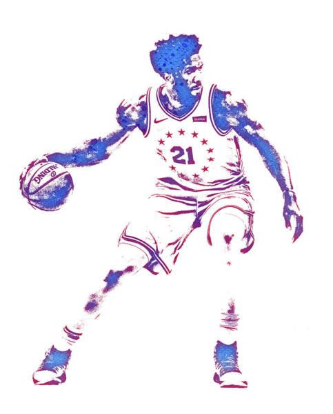 Wall Art - Mixed Media - Joel Embiid Philadelphia 76ers Water Color Pixel Art 3 by Joe Hamilton