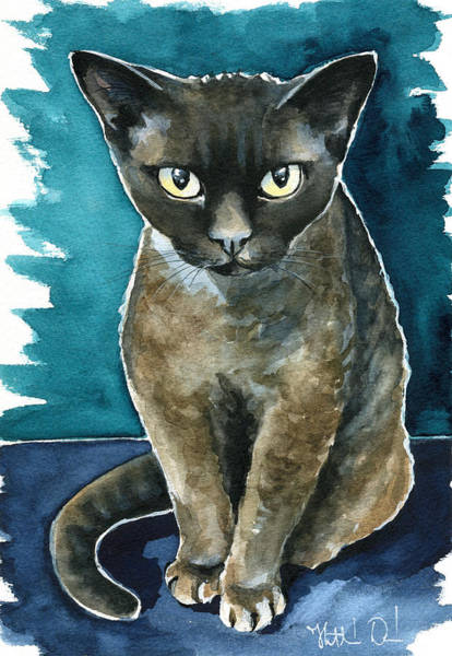 Painting - Joey - Devon Rex Cat Painting by Dora Hathazi Mendes