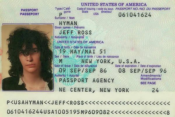 Wall Art - Photograph - Joey Ramone Passport 1986 by Daniel Hagerman