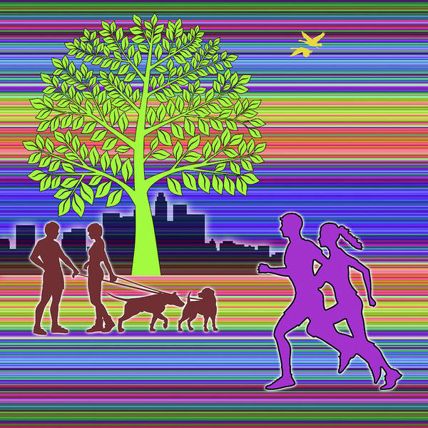 Digital Art - Joggers In The Park Square by Chuck Staley