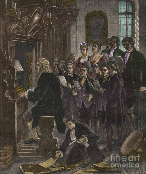 Wall Art - Painting - Johann Sebastian Bach Playing The Organ At The St Thomas School, Leipzig by French School