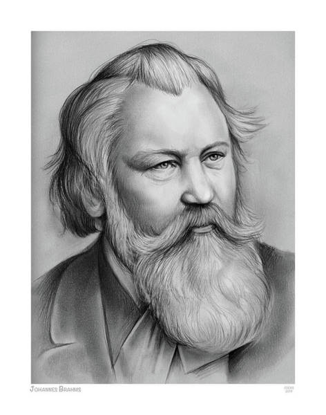 Wall Art - Drawing - Johannes Brahms by Greg Joens