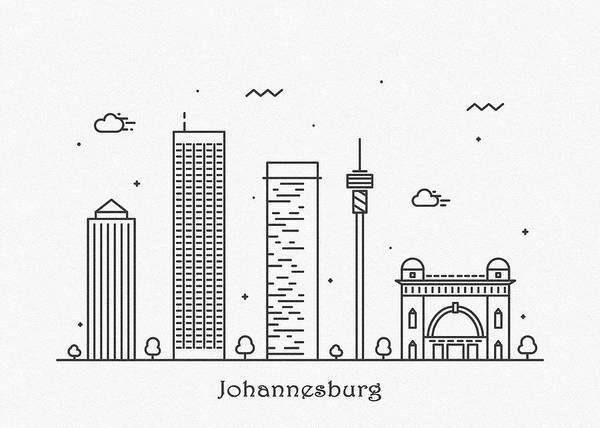 Johannesburg Wall Art - Drawing - Johannesburg Cityscape Travel Poster by Inspirowl Design