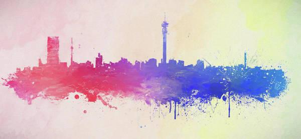 Wall Art - Painting - Johannesburg Skyline Paint Splatter by Dan Sproul