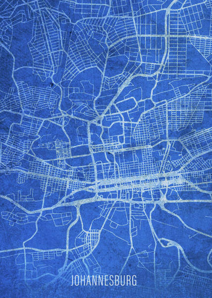 Wall Art - Mixed Media - Johannesburg South Africa City Street Map Blueprints by Design Turnpike
