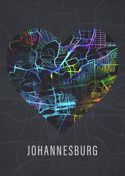 Johannesburg Wall Art - Mixed Media - Johannesburg South Africa Heart Street Map Love Dark Mode by Design Turnpike