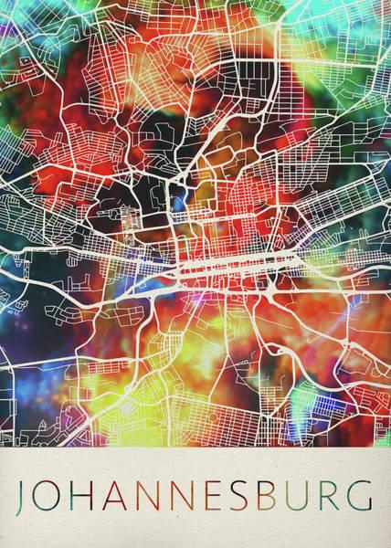 Johannesburg Wall Art - Mixed Media - Johannesburg South Africa Watercolor City Street Map by Design Turnpike