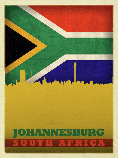 Wall Art - Mixed Media - Johannesburg South Africa World City Flag Skyline by Design Turnpike