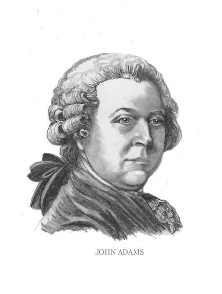 Drawing - John Adams by Joan Garcia