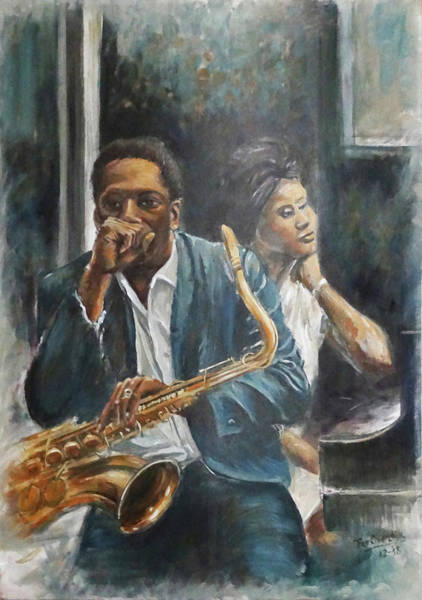 Wall Art - Painting - John And Alice Coltrane by Fer Overdijk