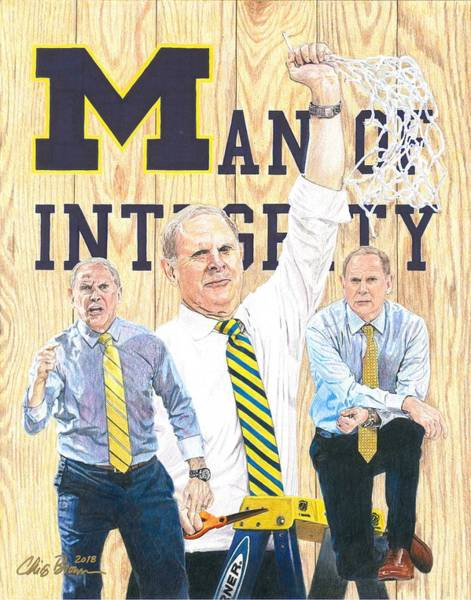 Wolverines Drawing - John Beilein - Man Of Integrity by Chris Brown