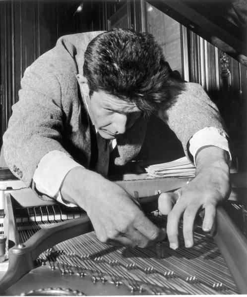 Close Up Photograph - John Cage Tunes A Piano by Fred W. McDarrah