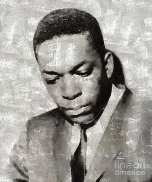 John Coltrane Wall Art - Painting - John Coltrane, Music Legend by Mary Bassett