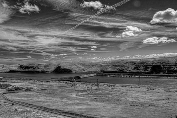 Camera Raw Photograph - John Day Dam And The Columbia River Monochrome by Brenton Cooper