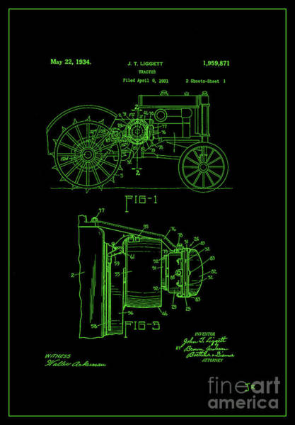 Wall Art - Photograph - John Deere Tractor Patent 1934 Green On Black by John Stephens