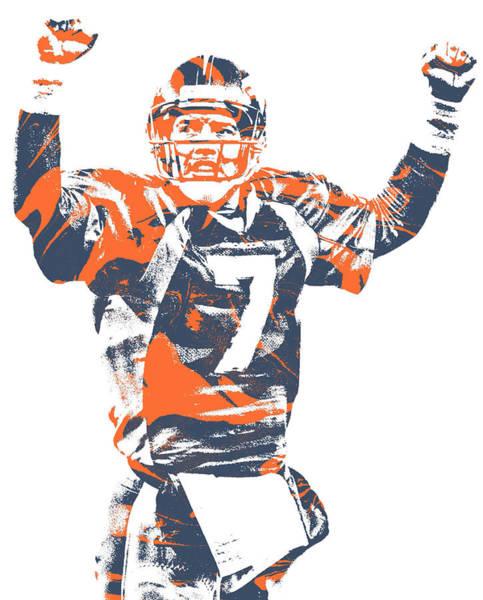 Wall Art - Mixed Media - John Elway Denver Broncos Pixel Art 100 by Joe Hamilton
