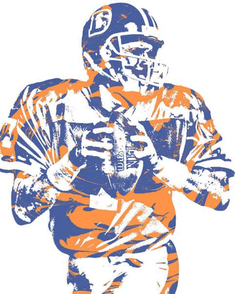 Wall Art - Mixed Media - John Elway Denver Broncos Pixel Art 101 by Joe Hamilton
