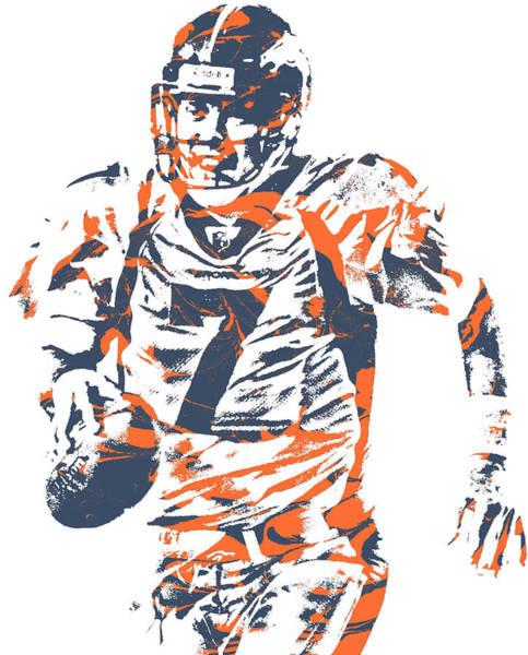 Wall Art - Mixed Media - John Elway Denver Broncos Pixel Art 150 by Joe Hamilton