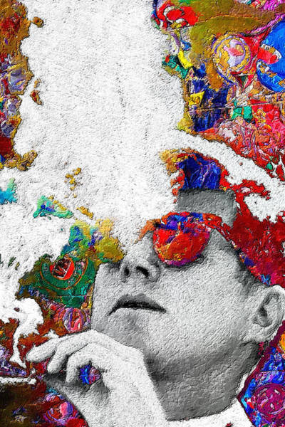 Painting - John F Kennedy Cigar And Sunglasses 2 Large Colorful by Tony Rubino