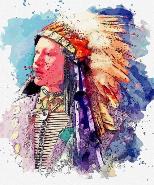 Painting - John Hollow Horn Bear, Sioux 1898 Watercolor By Ahmet Asar by Ahmet Asar