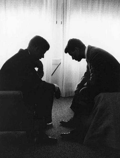 Wall Art - Photograph - John Kennedy Confers With Robert Kennedy by Hank Walker