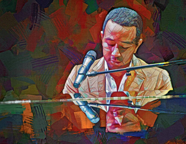 Wall Art - Mixed Media - John Legend by Mal Bray