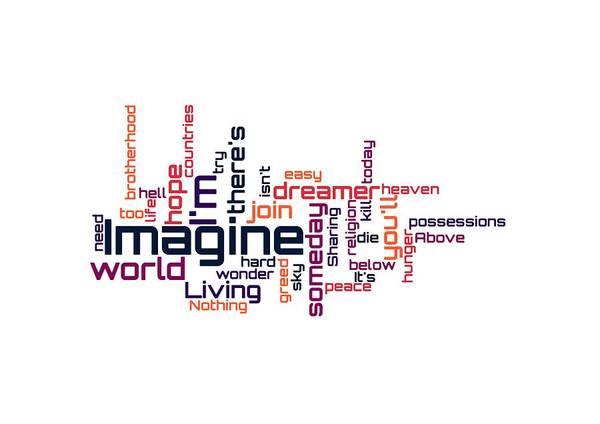 Digital Art - John Lennon - Imagine Lyrical Cloud by Susan Maxwell Schmidt