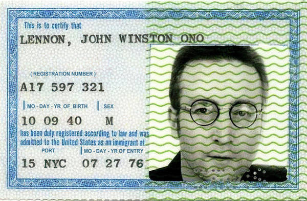 Wall Art - Photograph - John Lennon Immigration Green Card 1976 by Daniel Hagerman