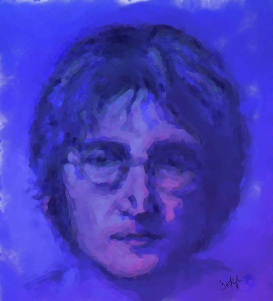 Wall Art - Digital Art - John Lennon Study In Blue by Digital Painting