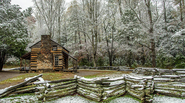 John Oliver Cabin Photograph - Early Snow At John Oliver Cabin by Marcy Wielfaert