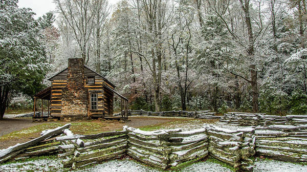 John Oliver Cabin Photograph - Behind The Split Rail by Marcy Wielfaert
