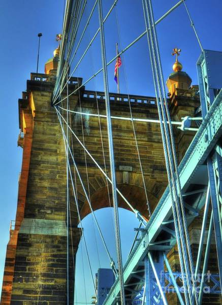 Photograph - John Roebling's Historic Cincinnati Suspension Bridge by Mel Steinhauer