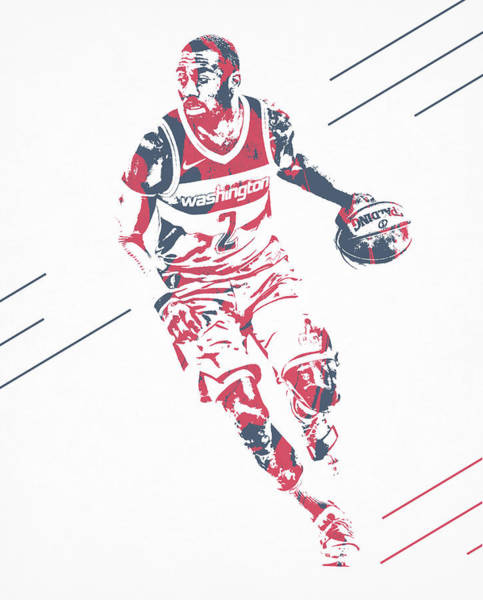 Wall Art - Mixed Media - John Wall Washington Wizards Pixel Art 75 by Joe Hamilton