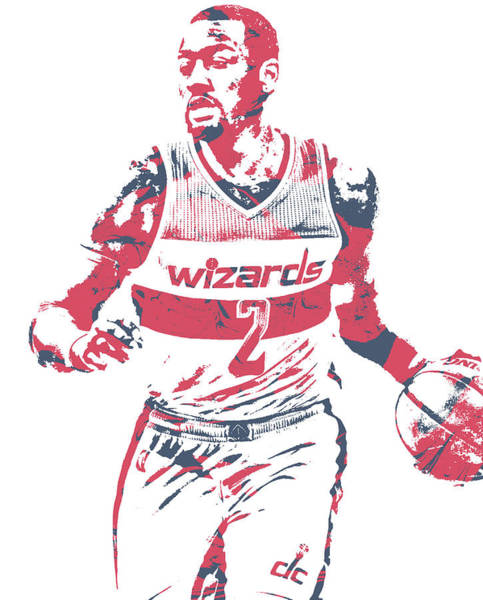Wall Art - Mixed Media - John Wall Washington Wizards Pixel Art 76 by Joe Hamilton