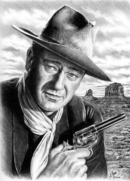 Wall Art - Drawing - John Wayne As Sheriff John T Chance by Andrew Read