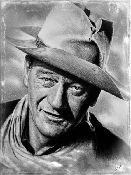 Wall Art - Drawing - John Wayne Film Reel Edit by Andrew Read